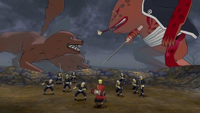 In der Demo-Version spielt ihr in diesem Areal. Die kleinen Hügel sind Levelgrenzen - unpassierbar für Naruto.