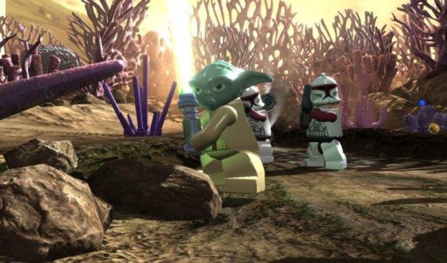 Yoda ist bereit zum Kampf. Ihr spielt die gleichnamige Zeichentrick-Serie nach.