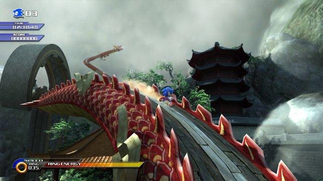 Dynamische Kamerafahrten setzen Sonic stilecht in Szene