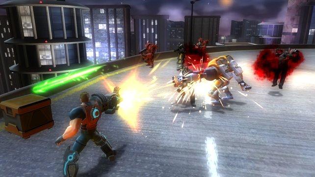 Stinger in Aktion: Der Superheldenanführer zeigt sein Können.