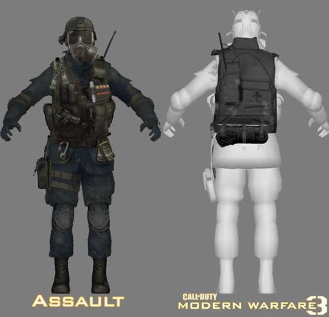 Eine Konzeptzeichnung zeigt die Ausrüstung eines Soldaten.