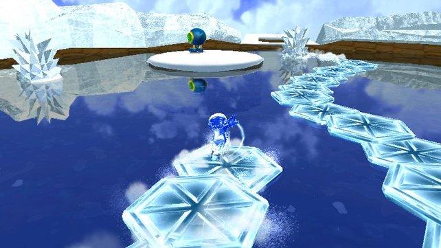 Wie ein Eiskunstläufer rast Mario über kleine Eisplattformen über das Wasser