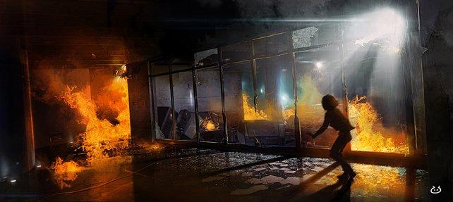 Entkomme den Flammen: eine heikle Aufgabe für Jodie.