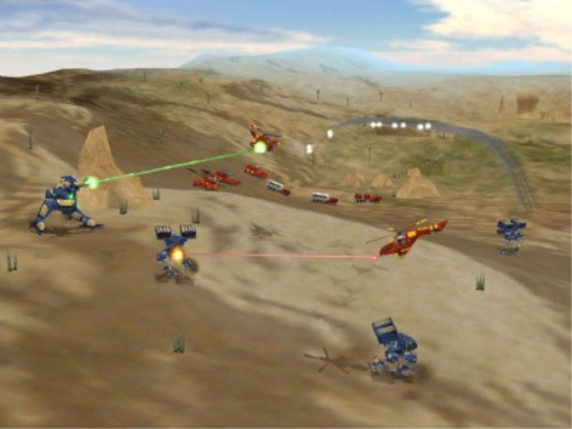 Mechs im Kampf mit Helikoptern