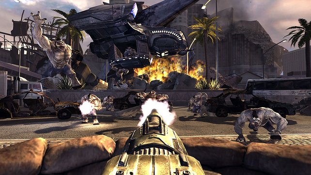 Diverse feste Geschütze laden zur fröhlichen Moorhuhn-Alien-Jagd.