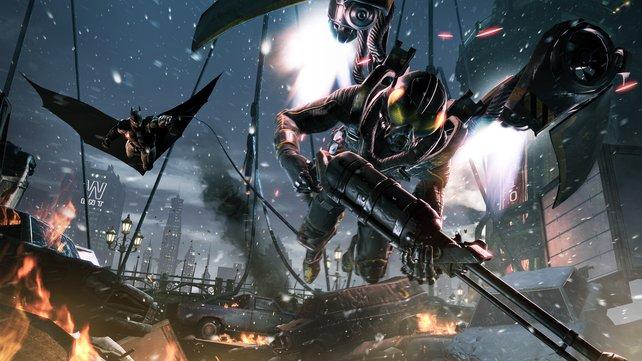 Ein irrer Verfolgungskampf zwischen Firefly und Batman ereignet sich über einer explodierende Brücke.
