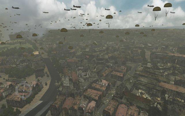 Massenabwurf über einer französischen Stadt