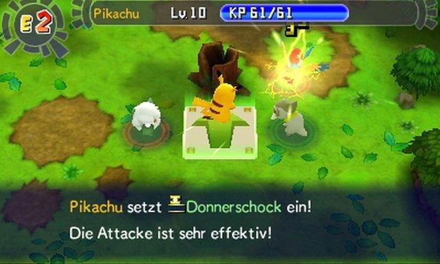 Pikachu setzt wie gewohnt Elektrizität als Waffe ein.