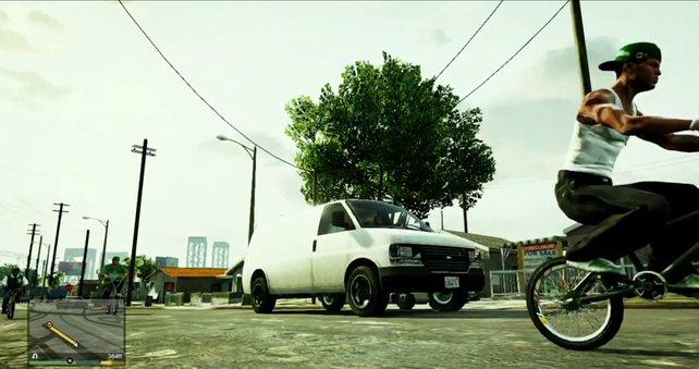 Während einer Mission fahren drei Gestalten durch die Grove Street, die frappierend an CJ und seine Bande erinnern.