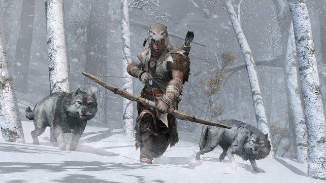 Die Wölfe stehen eurem Helden zur Seite.