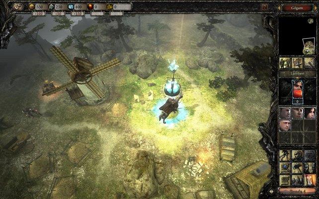 Wenn euer Held den Grenzstein besetzt, vergrößert sich euer Machtbereich, die Mühle links bringt dann Gold.
