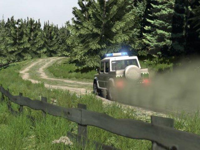 Mit dem Polizeiwagen durch die Natur