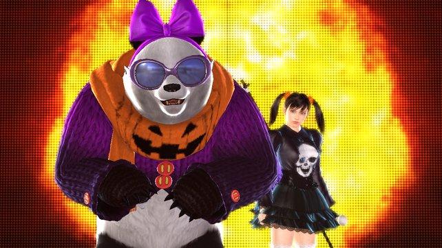 Panda und Xiaoyu präsentieren ihre neuen Klamotten.