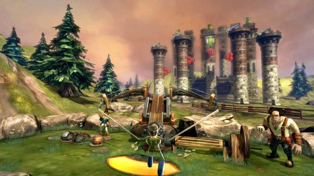 Per Kinect demoliert ihr bullige Bauwerke.