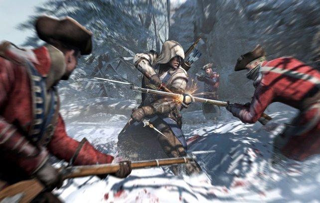 Connor verteidigt sich unter anderem mit einem Tomahawk, einer indianischen Axt.