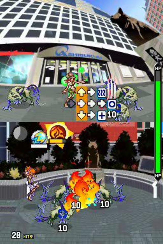 Auf beiden Bildschirmen könnt ihr gleichzeitig kämpfen, was aber etwas Übung erfordert