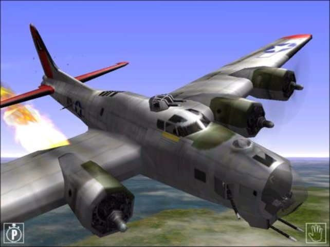 Eine B-17 mit brennendem Triebwerk