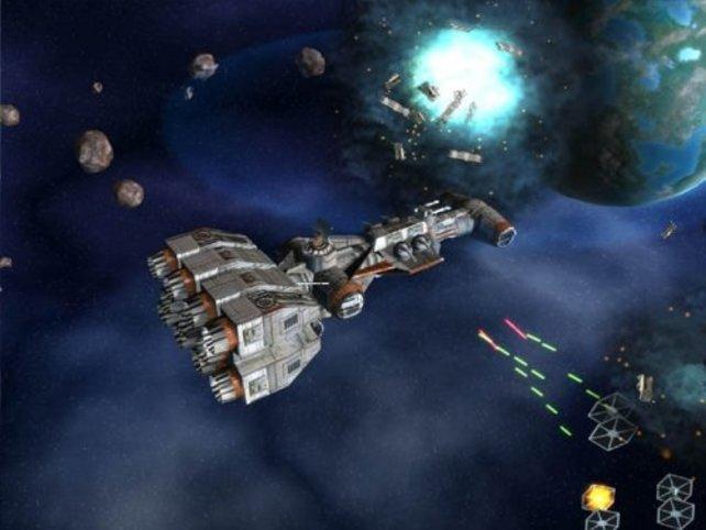 Ein Kampf im Weltraum