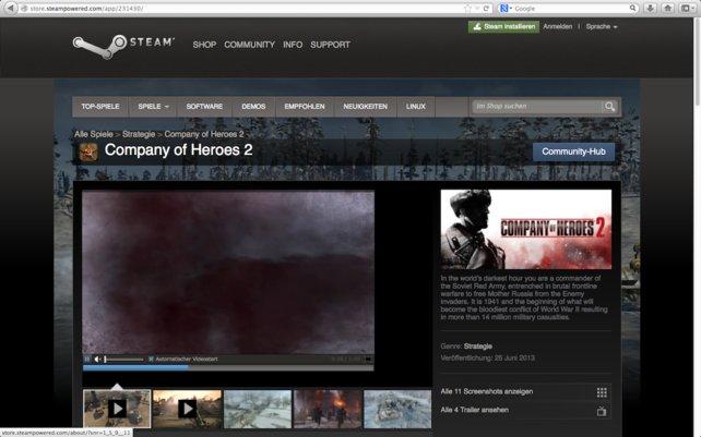 Mit Steam könnt ihr die neuesten Spiele zocken – wie z.B. Company of Heroes!
