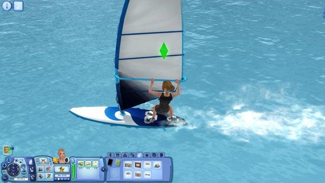 Die Sims beweisen auch auf dem Surfbrett Stilbewusstsein.