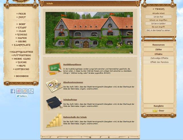 Die Schule ist ein neues Feature im Spiel - leider sind noch nicht alle Funktionen freigeschaltet.
