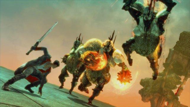 Neben kleinen Gegnern, bekämpft ihr mit Schwert und Pistolen auch große Dämonen.