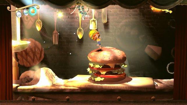 In der Burg hüpft ihr auch über Kochtöpfe und Hamburger.