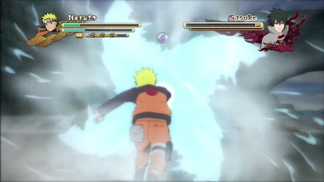 Sasuke kann einpacken. Naruto setzt ihm mit einem mächtigen Jutsu zu.