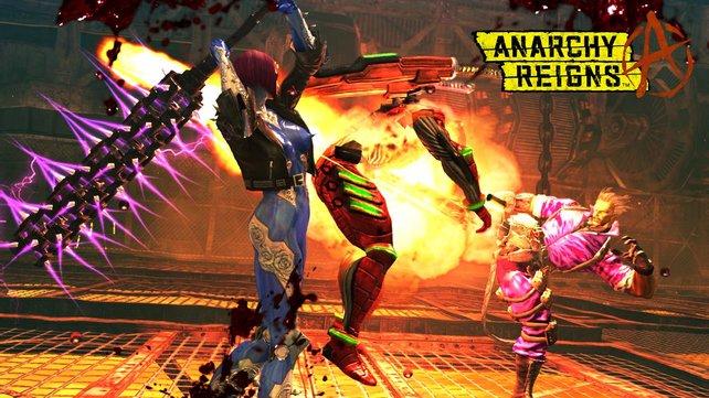 Im Kampf wehrt ihr euch gegen Roboter und Mutanten mit Schlägen, Blocks und Spezialwaffen.