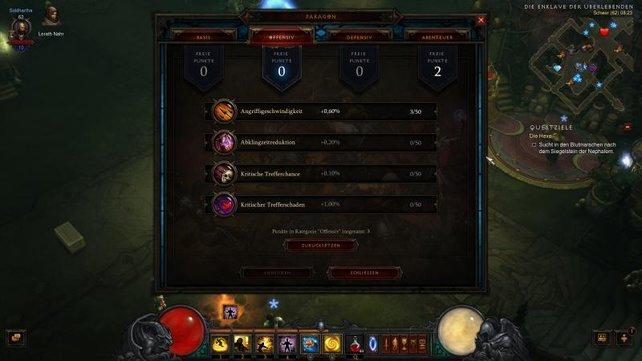 Die Paragon-Punkte werten euren Charakter auch nach dem 70. Level weiter auf.