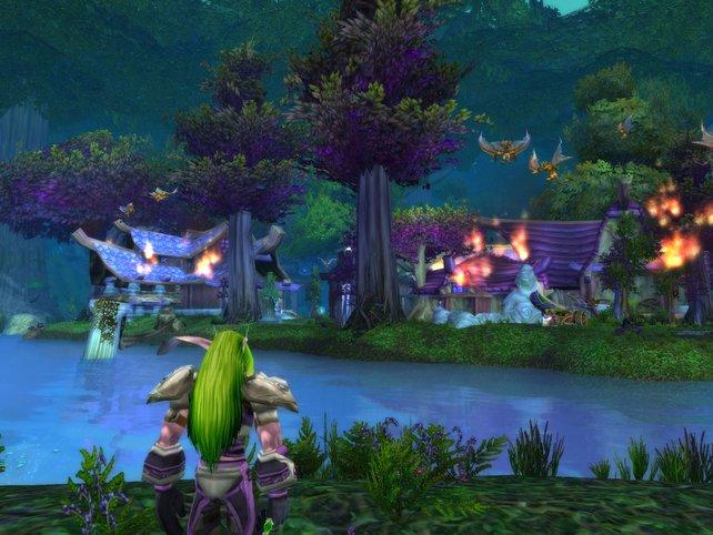 Traurig schaut der Nachtelfe auf die brennenden Ruinen.