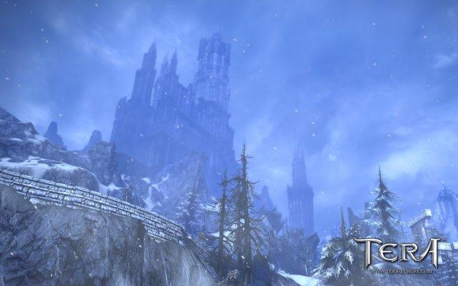 Schnee bedeckt hier die Welt von Tera.