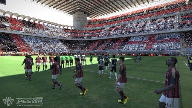 Neu in PES 2014: Top-Spiele zelebrieren die virtuellen Stadion-Zuschauer vor Anstoß mit wirklich beeindruckenden Fan-Choreographien.