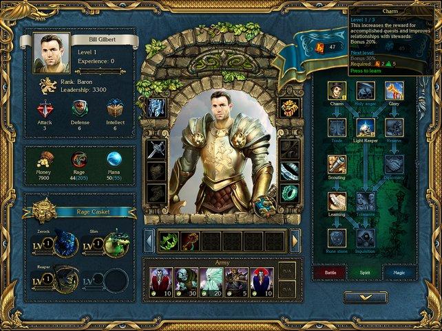 Rollenspiel-Standard: Im Heldenmenü lassen sich alle Fertigkeiten und Eigenschaften auf einen Blick einsehen.