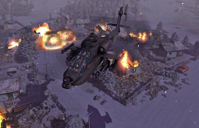Tolle Wettereffekte inklusive entkommt der Apache nach erledigter Arbeit