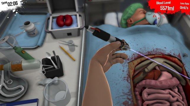 Von wegen Präzisionswerkzeug: Das Laserskalpell sorgt für massig Blutverlust.