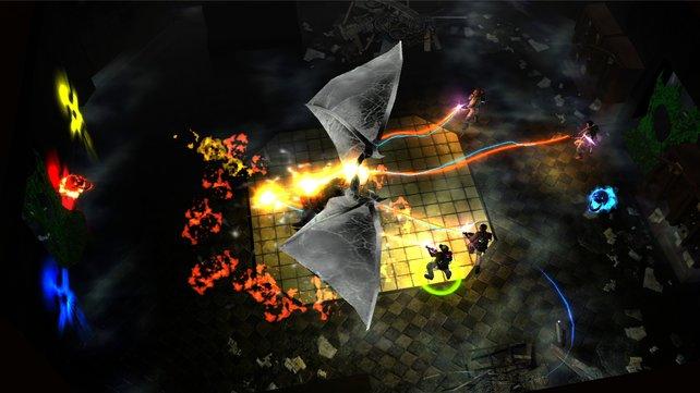 Kampf mit dem Boss. Die Farben der Gegner verraten, mit welcher Waffe ihr sie besiegt.
