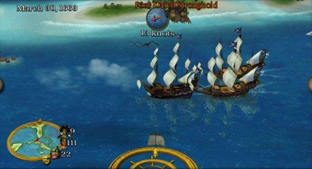 Flottenaufbau: Hier stehen bereits drei Schiffe unter eurem Kommando.