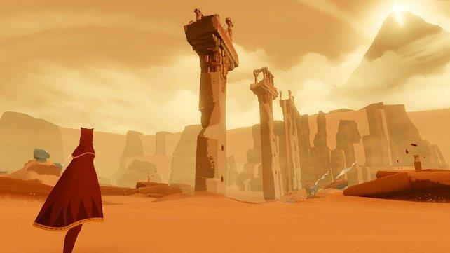 Journey beginnt in einer kahlen, aber herrlichen Wüstenlandschaft.
