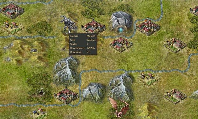 Regionskarte: Oben lockt ein Level-3-Moloch mit Beute, rechts daneben ein Berg-Dungeon mit viel Eisenerz.