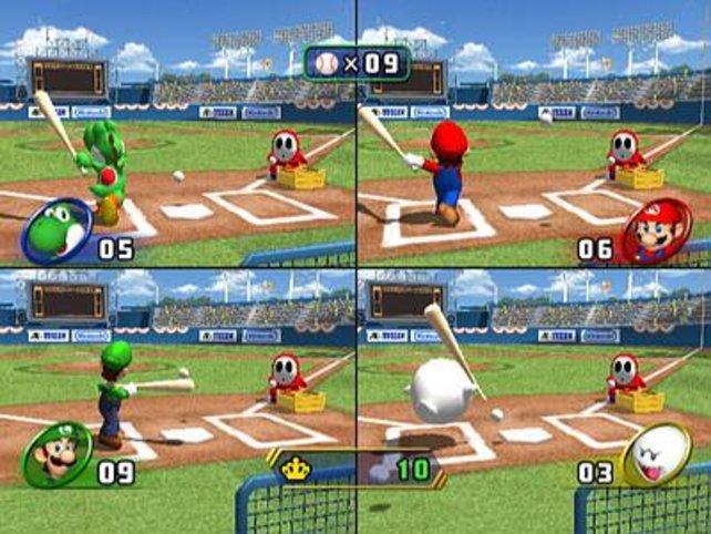 Vier Spieler beim Baseball - Spaß pur