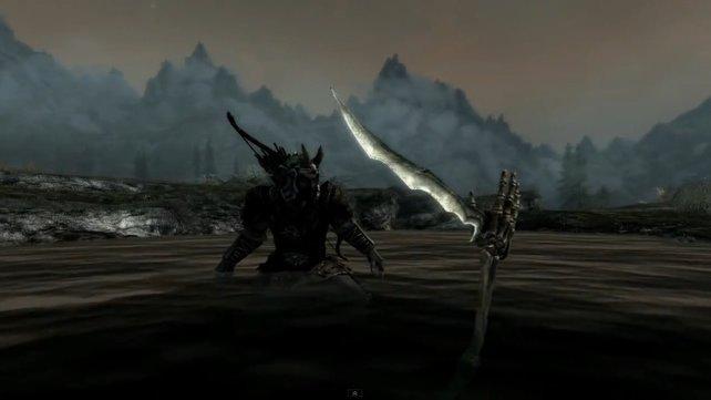 Die ausgestreckte Skeletthand im See ist eine offensichtliche Anspielung auf eine Artus-Legende.