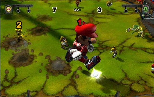 Mario nutzt seine Spezialfähigkeit und trampelt alle Gegner platt
