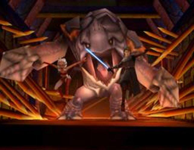 Mit zwei Jedis gegen einen Rancor.