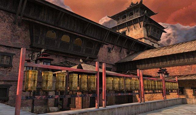 Tempel mit Gebetsmühlen - unser Beten für ein spannendes Spiel bleibt ungehört.