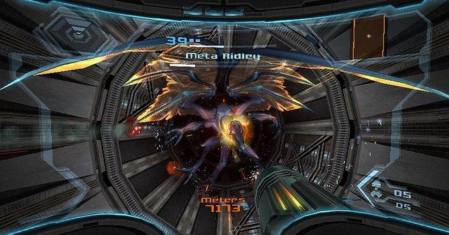 Metroid Prime Trilogy setzt euch oft beeindruckende Gegner vor die Nase.
