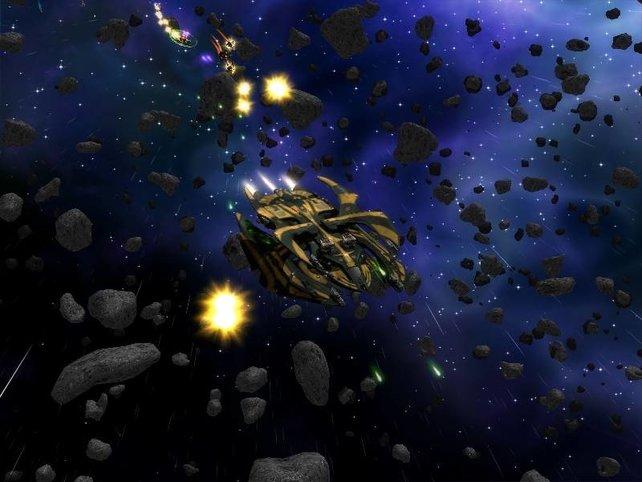 Die Darkstar One in einem Asteroidenfeld