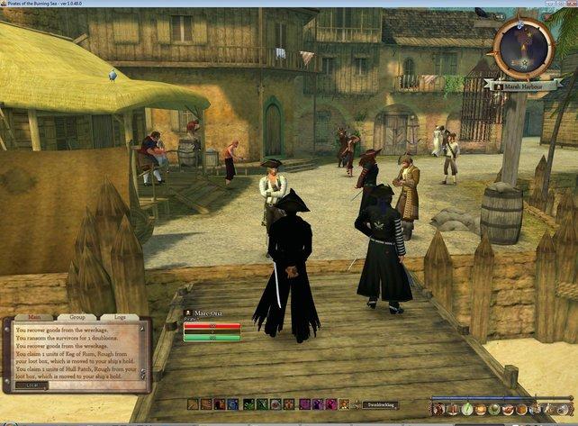 Stimmige Piratenathmosphäre empfängt den Spieler schon im Starthafen der Piratenfraktion.