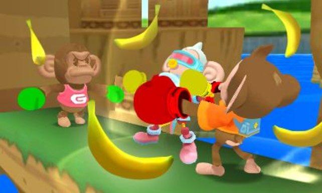 Schlagt kräftig zu, damit ihr auch die letzte Banane eures Gegners erbeutet.
