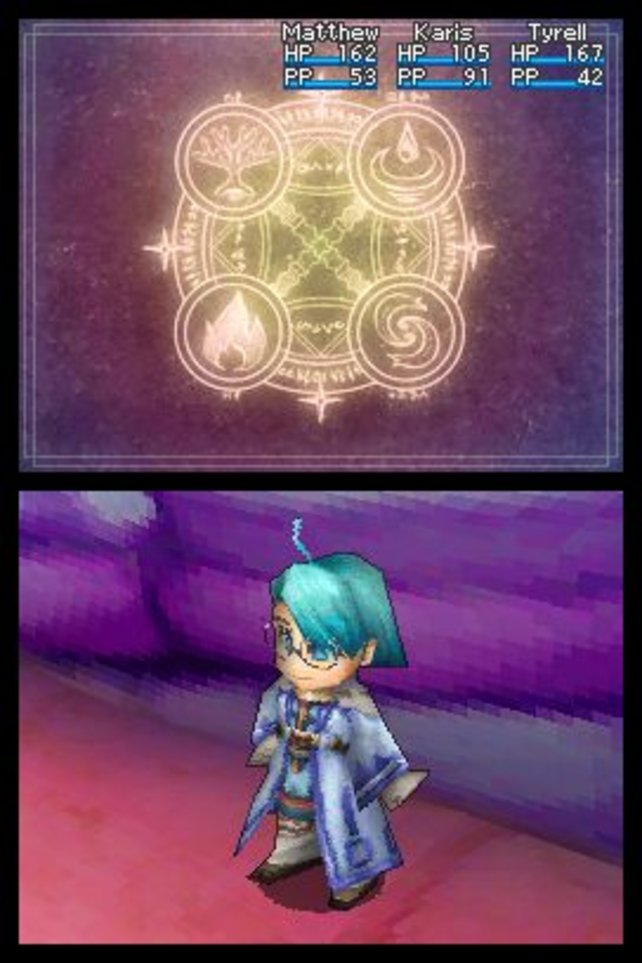 Im Rollenspiel Golden Sun - Die dunkle Dämmerung löst ihr Rätsel, kämpft und sammelt Dschinn-Geister.